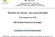 Receção aos alunos Pré-Escolar/1ºAno - Ano Letivo 2019-2020