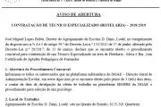 Aviso de Abertura - Contratação Técnico Especializado - Hotelaria - 12h