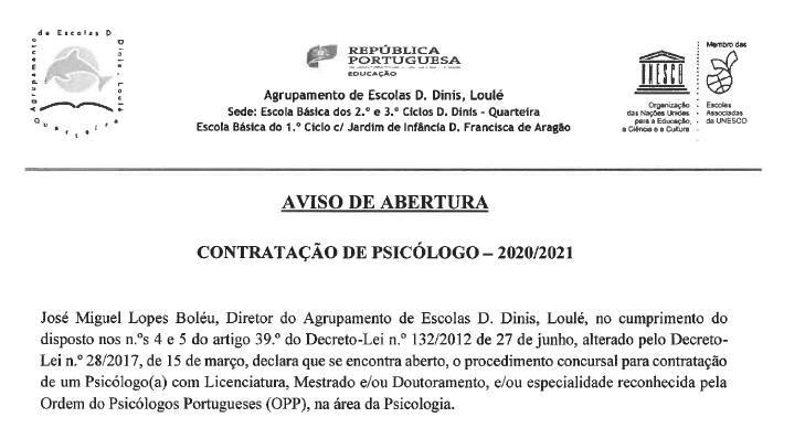 AvisoAbertura ContratoPsico Setembro2020