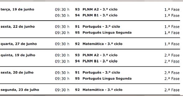 Calendario Provas Finais
